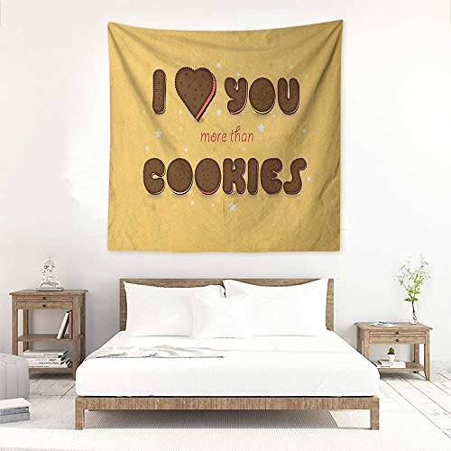 I Love You More Decorative Tapestry Romantic Quote with Chocolate Cream Filled Cookie Artistic Font and Stars Tapestry for Home Decor 63W x 63L INCH Multicolor ()