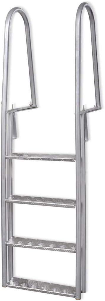 Festnight Escalera con 4 Peldaños Aluminio 170 cm