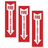 """(3 Pack) Fire Extinguisher Sign - High Quality - Self Adhesive 4 X 12"""" 4 Mil Vinyl Decal - Indoor & Outdoor Use - UV Protected & Waterproof - Sleek"""