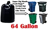 64 Gallon Super Big Mouth Trash Bags 30-Pack Plus 3 Free Rubber Tie Down Bands