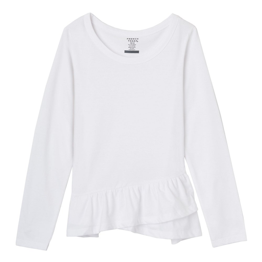 French Toast Girls' Little Long Sleeve Ruffle Tee, White, 6X