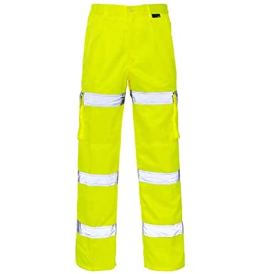 Mens Stand Safe High Vis Safety Yellow Pants Work Wear Visibility Trousers