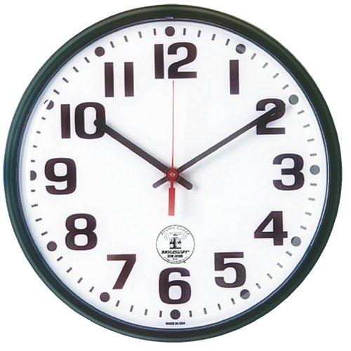 SKILCRAFT 6645-01-491-9814 Plastic Atomic Slimline Wall Clock with White Face, 12-3/4-Inch Diameter, (Black Atomic Slimline Wall Clock)