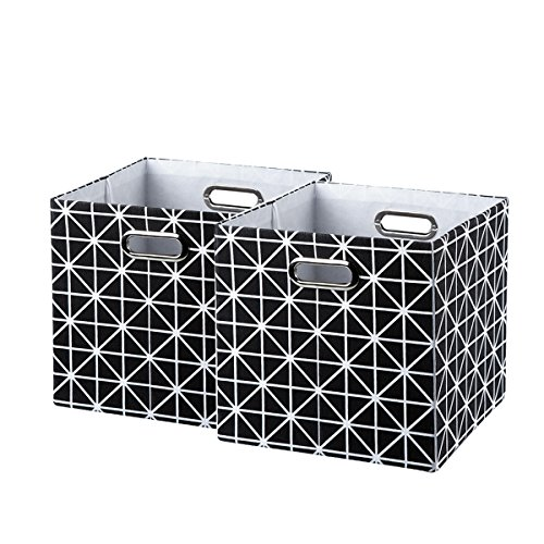 BAIST Cubby Storage Cubes,Printed Heavy Duty Canvas Decorative Bed Storage Bins Baskets for Living Room Toys Clothes Square Collapsible 11×11, 2 Pack