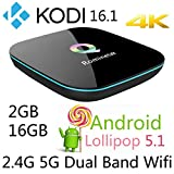 Rominetak Q-Box 2GB/16GB Android 5.1 Lollipop TV Box Quad Core 4K UHD 3D 1000M LAN Bluetooth Dual Band 2.4G/5G Wifi Kodi 16.1 pre-installed Add-Ons Fully Loaded Rooted Unlocked Streaming Media Player