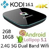 Rominetak Q-Box 2GB/16GB Android 5.1 Lollipop TV Box Quad Core 4K UHD 3D 1000M LAN Bluetooth Dual Band 2.4G/5G Wifi Kodi 16.1 pre-installed Add-Ons Fully Loaded Rooted Unlocked Streaming Media Player