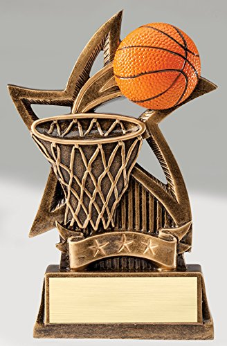 Etch Workz Basketball Sports Trophy - Gold Star Resin Casting Award - Customize Trophy