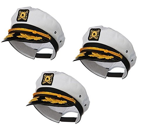 Nicky Bigs Novelties Sailor Ship Yacht Boat Captain Hat Navy Marines Admiral White Gold Cap 3 Pack