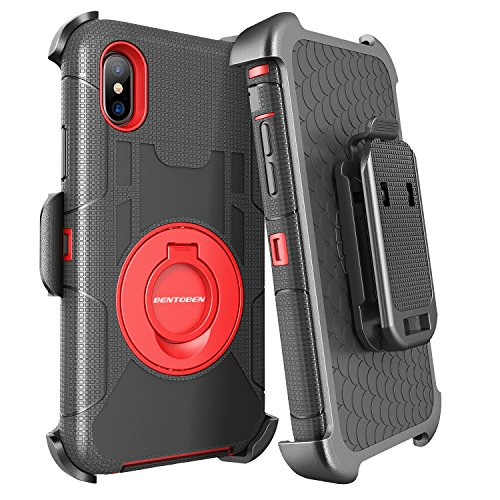 BENTOBEN iPhone XS Case 5.8 2018, iPhone X Case Holster Belt Clip, Support Wireless Charging Heavy Duty Shockproof Kickstand Full Body Hybrid Protective Phone Cases for iPhone X/10 2017, Black/Red
