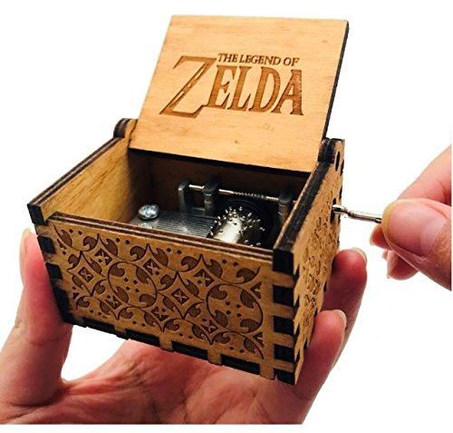 Antique Carved Wooden Music box Hand cranked Music: Game of Thrones, Harry Potter, Merry Christmas, Beauty and the Beast, and Zelda Theme Gift (Zelda; Song of Storms from Ocarina of Time, Wood) by Phoenix Appeal (Image #4)