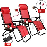 Cheap Nlyefa 2pcs Zero Gravity Folding Lounge Beach Chair with Utility Tray Outdoor Recliner Red
