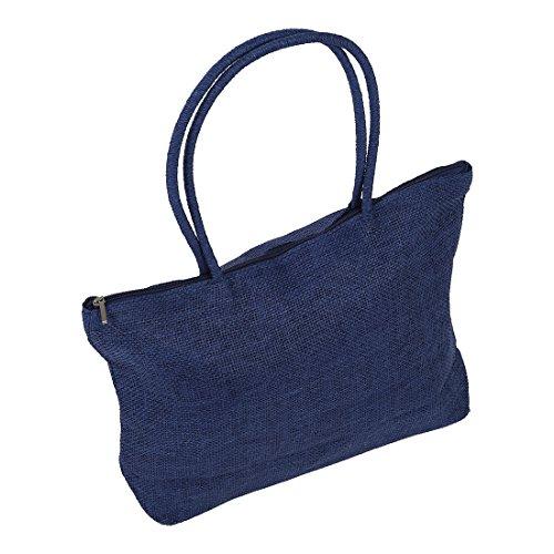 SODIAL(R) Damen Stroh Weberei-Sommer-Strand-Einkaufstasche Einkaufstasche mit Reissverschluss Reisen-dunkelblau