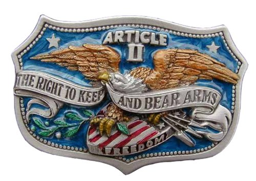 Bear Arms Belt Buckle - The Right To Bear Arms Colored Novelty Belt Buckle