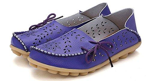 Cuir Femmes Occasionnels Des Lacées De Conduite Bateau Chaussures 3purple En Mocassin Chaussures Eagsouni Mocassins qtUxXITw8