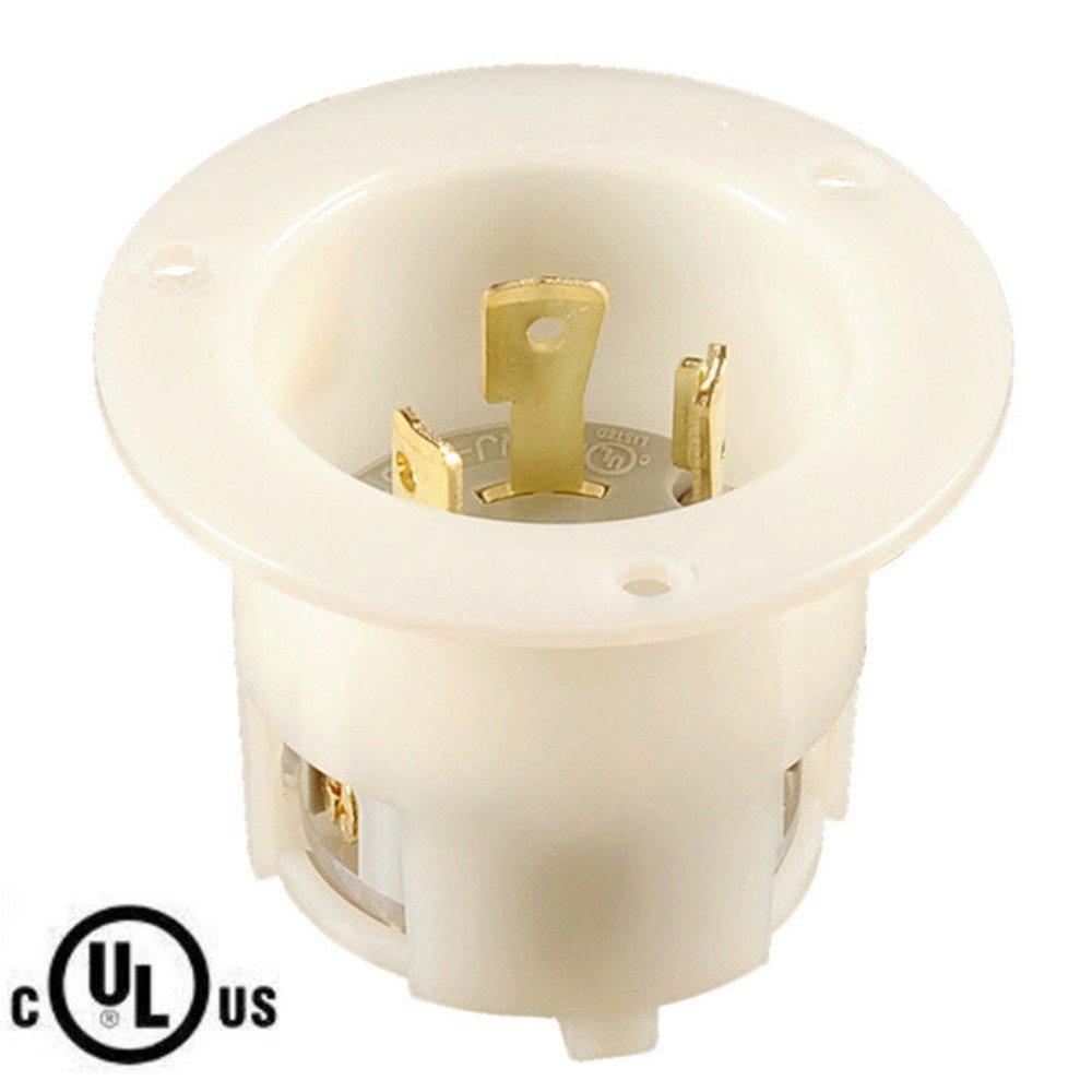 NIB, UL Listed Locking NEMA L6-30 FI, FLANGED INLET,2P,3W,30A 250V (ETA:7-12 WORK DAYS)