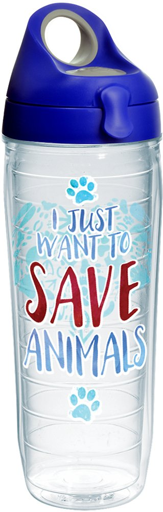 Tervis 1247351 Save Animals Tumbler with Wrap and Blue with Gray Lid 24oz Water Bottle, Clear