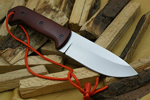 (Knife King Premium Model 3 Custom Handmade D2 Steel Hunting Knife Red Micarta Handle, Comes with a Leather Sheath. )