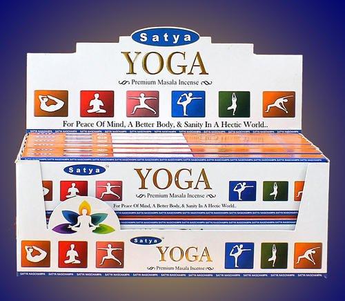 Satya Premium Yoga Incense Sticks/Agarbatti 180 Grams Box | 12 Packs of 15 Grams Each In A Box | Premium Quality by Satya