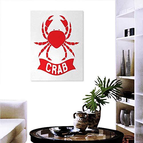 Anniutwo Crabs everlands Art Flower Canvas Print Art Wall Deco Exotic Aquatic Animal Symbol in Red Marine Cuisine Icon Ocean Wildlife Shellfish Wall Hole Sticker 32