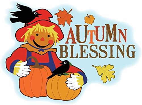 (Seasons Autumn Blessing Scarecrow Pumpkins Crows Edible Cake Topper Image ABPID13526 - 1/4 sheet)