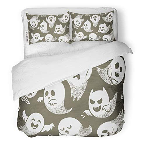 Semtomn Decor Duvet Cover Set Twin Size Halloween of Cute Cartoon Ghosts Different Faces Pattern Boo 3 Piece Brushed Microfiber Fabric Print Bedding Set Cover]()
