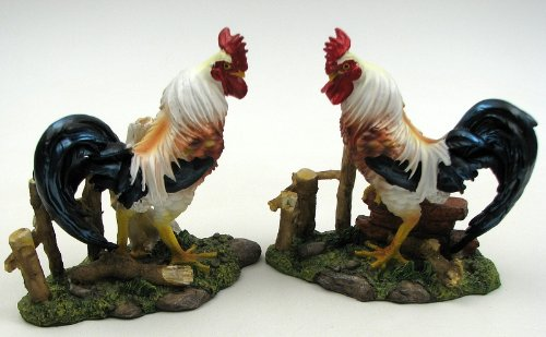 Rooster Statue Tabletop Decor Royal Fighting Figurine Kitchen Home Accent Chicken Hen Garden Figures Farmhouse Animal Collectible Gift Ideas (Asstd. 2)