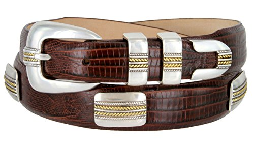 Brown Lizard Print Leather - Mens Golden Rope Genuine Italian Calfskin Leather Designer Dress Golf Belt (Lizard Brown, 38)