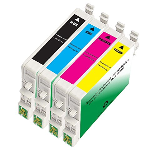 INKUTEN 4 Pack Remanufactured 60 /T060 / T0601-4 Ink Cartridges (1BK, 1C, 1M, 1Y) for C88+ C68 C88 CX3800 CX3810 CX4200 CX4800 CX5800 CX5800F CX7800 (Epson Stylus Cx4800 Printer)