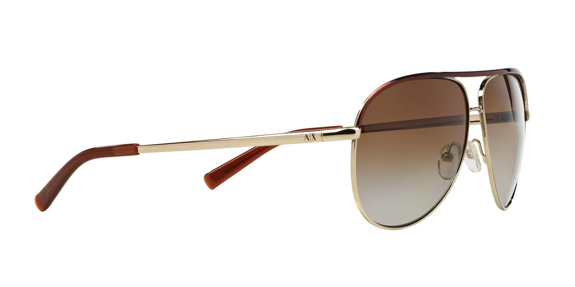 Armani Exchange Metal Unisex Polarized Aviator Sunglasses, Light Gold/Dark Brown, 61 mm by A|X Armani Exchange (Image #12)