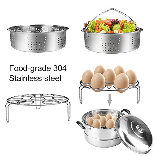 7-pcs Accessories for Instant Pot 5,6, 8 Qt, Steamer Basket, Egg Steamer Rack, Non-Stick Springform Pan, Steaming Stand, Silicone Spoonula,1 Pair Silicone Cooking Pot Mitts by Homtant by Homtant (Image #3)