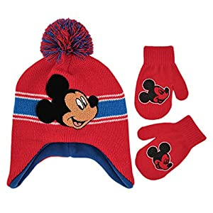 Disney Boys Mickey Mouse and Cars Lightining McQueen Winter Hat and Pair Mitten or Glove Set (Age 2-7)