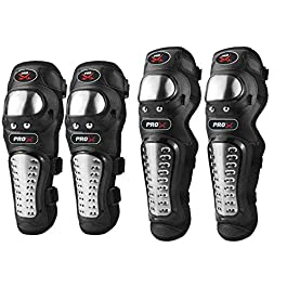 Autofy Alloy Steel Elbow Guard Knee Guard Shin Protector for Bikers Riders Bike Motorcycle (Black Set of 4)
