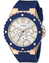 GUESS Womens U0452L3 Sporty Oversized Multi-Function Watch on a Comfortable Navy Blue Silicone Strap with Rose...