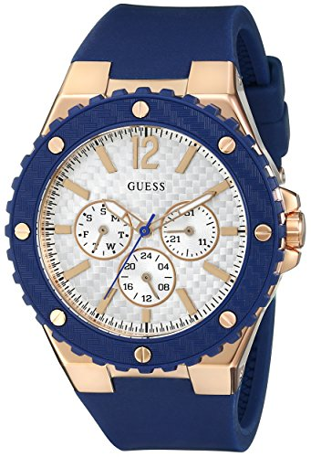 GUESS Women's U0452L3 Sporty Oversized Multi-Function Watch on a Comfortable Navy Blue Silicone Strap with Rose Gold-Tone (Guess Crystal Accent Multifunction Watch)