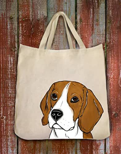Beagle Dog Portrait Color Design Extra Large Eco Friendly Reusable Cotton Twill Grocery Shopping Tote Bag
