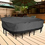 NEH Outdoor Patio Furniture Table and Chairs Cover 108″ Length Dark Grey For Sale