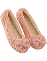 d63450dc387 Women Ladies Bowknot Cashmere Warm Yoga Ballerina Shoes Home Floor Slippers  (US 4.5-