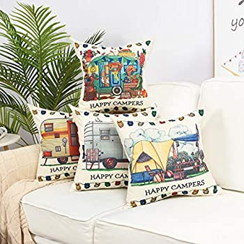 YINNAZI Happy Campers Pattern Farmhouse Decor Square Linen Cotton Throw Pillow Cover Camp Cushion Cover Pillowcase for Couch Bed Living Dorm 18 x 18 Inch Set of 4 (Size1)