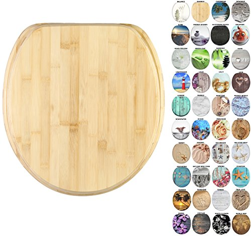 (Sanilo Round Toilet Seat, Wide Choice of Slow Close Toilet Seats, Molded Wood, Strong Hinges (Bamboo))
