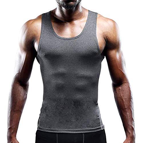 - Mens Compression Shirt Slimming Body Shaper Vest Workout Tank Tops Abs Abdomen Undershirts Gray