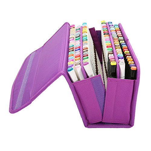 Caveen Maker Case Large Capacity Pen Bag Holder Lipstick Case Organization with Carrying Handle (120 Slots) Purple 120 slots