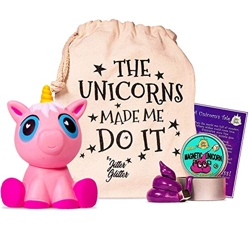 Jumbo Pink Unicorn Squishy and Magnetic Unicorn Putty with Magnet - Unicorn Stress Relief Kit - Funny Gift for Adults and Kids who Love Unicorns. Sensory Play Toy Set for Fun Silly Therapy, Ages 8+ -