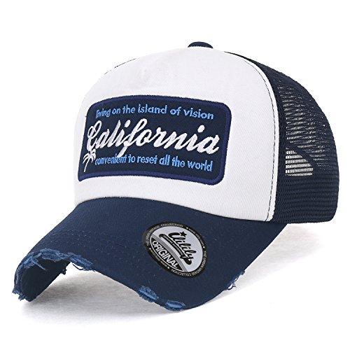 ililily California Embroidery Vintage Distressed Mesh Trucker Hat Baseball Cap Navy blue