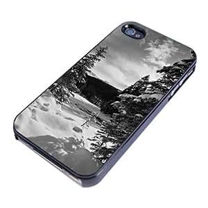 Diabloskinz H 0026-0042-0014 diseño de paisaje nevado funda con tapa para Apple iPhone 4/4S