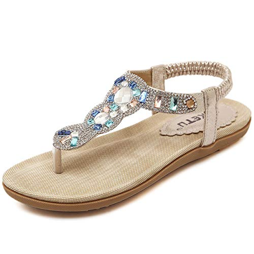 gold Women's Flat Low Sandals, Bohemian Rhinestones Decorated Casual Flip Flops Summer Large Size Clip Toe Beach shoes,Suitable for Daily Wear, Home, Vacation