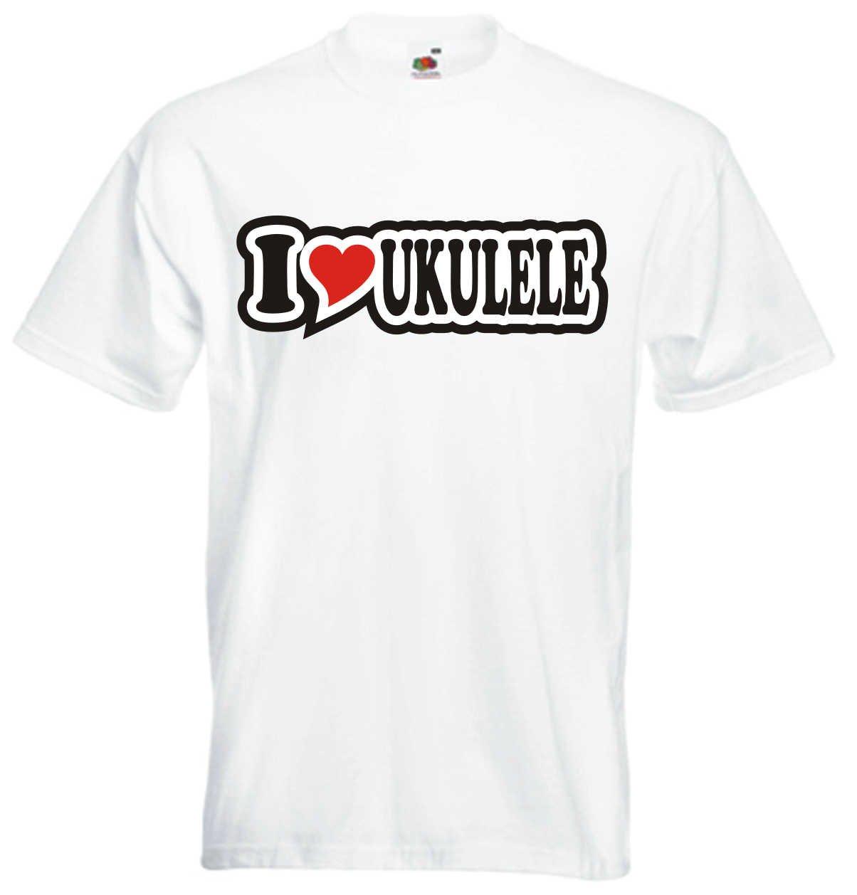 I Love Heart T-Shirt Men I LOVE UKULELE Black Dragon