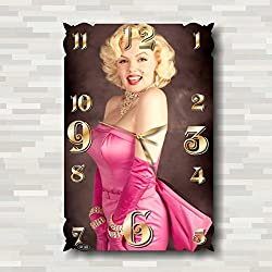 Marilyn Monroe 18'' x 11 Handmade Wall Clock - Get unique décor for home or office – Best gift ideas for kids, friends, parents and your soul mates
