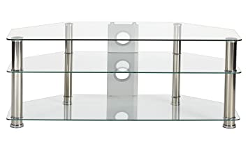"""e9240116dd1a MMT Clear Glass Universal TV Stand Suitable for up to 55"""" LCD LED Flat  Screen"""