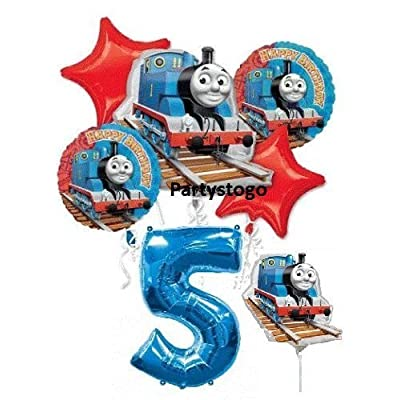 "THOMAS THE TANK 5TH BIRTHDAY BALLOONS WITH 14"" MINI SHAPE BIRTHDAY PARTY BALLOONS BOUQUET DECORATIONS TRAIN: Toys & Games"