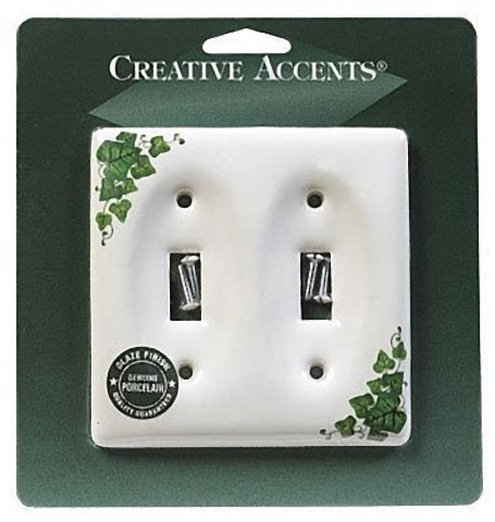 Creative Accents Porcelain Green Gang Toggle Wallplate 2, Ivy
